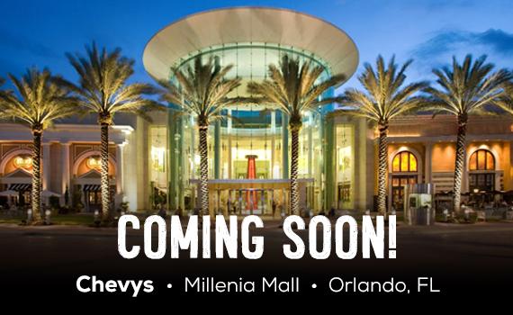 Banner: Coming Soon Chevys, Millenia Mall, Orlando FL